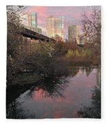 Austin Hike And Bike Trail - Train Trestle 1 Sunset Triptych Right Fleece Blanket