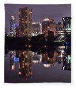 Austin Lights Up Lady Bird Lake Fleece Blanket