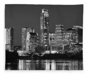 Austin Skyline At Night Black And White Bw Panorama Texas Fleece Blanket