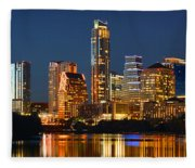 Austin Skyline At Night Color Panorama Texas Fleece Blanket