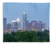 Austin Texas Building Skyline After The The Lights Are On Fleece Blanket