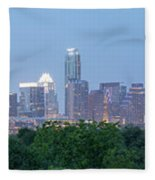 Austin Texas Building Skyline After The The Lights Are On Fleece Blanket