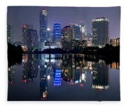 Austin Texas Mirror Image Fleece Blanket