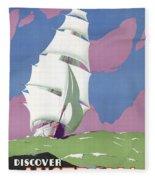 Australia Vintage Travel Poster Restored Fleece Blanket