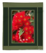 Australian Red Eucalyptus Flowers With Design Fleece Blanket