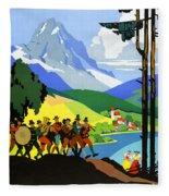 Austria Vintage Travel Poster Fleece Blanket
