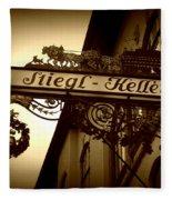 Austrian Beer Cellar Sign Fleece Blanket