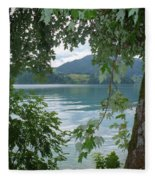Austrian Lake Through The Trees Fleece Blanket