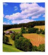 Austrian Rural Forest Vista Fleece Blanket