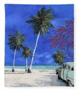 Auto Sulla Spiaggia Fleece Blanket