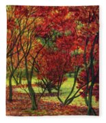 Autum Red Woodlands Painting Fleece Blanket