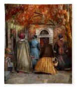 Autumn - People - A Walk Downtown  Fleece Blanket