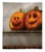 Autumn - Pumpkins - Two Goofy Pumpkins Fleece Blanket