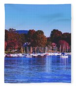 Autumn Along Lake Candlewood - Connecticut Fleece Blanket