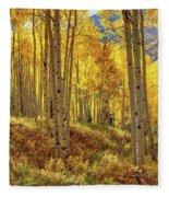 Autumn Aspen Forest Aspen Colorado Panorama Fleece Blanket
