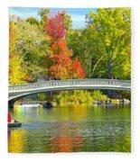 Autumn At Bow Bridge Central Park Fleece Blanket