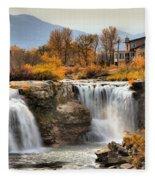 Autumn At Lundbreck Falls Provincial Park Fleece Blanket