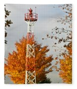 Autumn At The Airport Light Tower Fleece Blanket