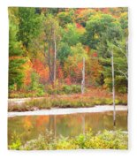Autumn Beaver Pond Fleece Blanket