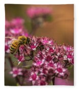 Autumn Bee On Flowers Fleece Blanket