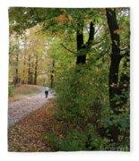Autumn Bicycling Vertical One Fleece Blanket