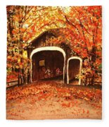 Autumn Bike Ride Fleece Blanket