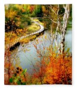 Autumn Birch Lake Boardwalk Fleece Blanket