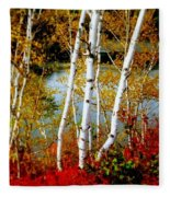 Autumn Birch Lake View Fleece Blanket