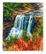Autumn Blackwater Falls - Paint 3 Fleece Blanket