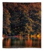 Autumn Boating At Argyle Lake Fleece Blanket