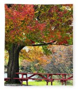 Autumn By The River On 105 Fleece Blanket