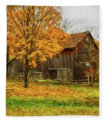 Autumn Catskill Barn Fleece Blanket