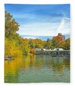 Autumn Central Park Lake And Boathouse Fleece Blanket