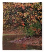 Autumn Colors By The Pond Fleece Blanket