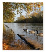 Autumn Colours At Sunbury On Thames Surrey Uk Fleece Blanket