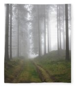 Autumn Coniferous Forest In The Morning Mist Fleece Blanket