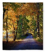 Autumn Country Lane Fleece Blanket