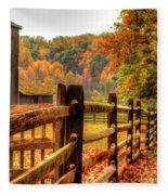 Autumn Fence Posts Scenic Fleece Blanket