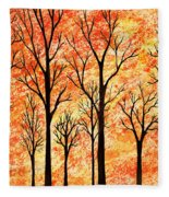 Autumn Forest Abstract  Fleece Blanket