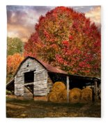 Autumn Hay Barn Fleece Blanket