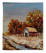 Autumn House By The Stream Fleece Blanket