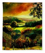 Autumn In Our Village Ardennes Fleece Blanket