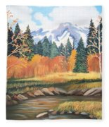 Autumn In The Mountans Fleece Blanket