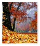 Autumn In The Woodland Fleece Blanket