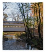 Autumn In Valley Forge - Knox Covered Bridge Fleece Blanket