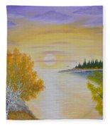Autumn Lake Sunset  Fleece Blanket