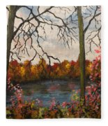 Autumn Lake View Fleece Blanket