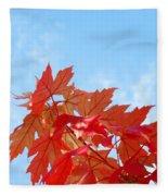Autumn Landscape Fall Leaves Blue Sky White Clouds Baslee Fleece Blanket