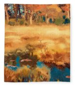Autumn Landscape With Fox Fleece Blanket