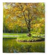 Autumn Landscape With Red Tree Fleece Blanket